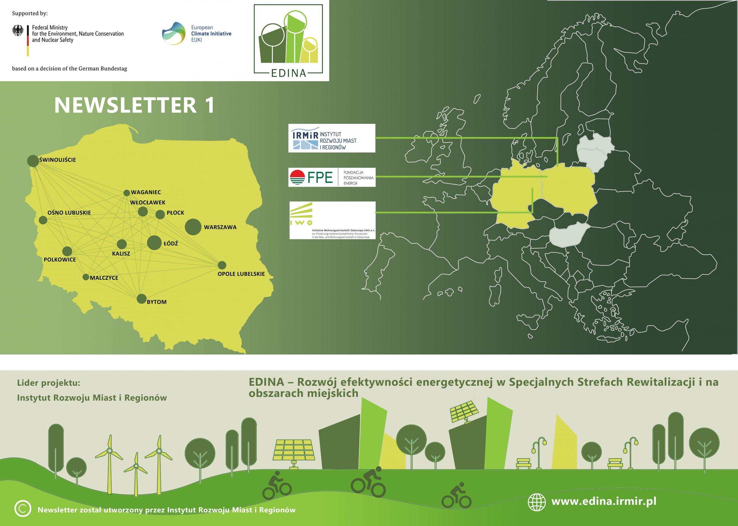 NEWSLETTER – EDINA – Rozwój efektywności energetycznej w Specjalnych Strefach Rewitalizacji i na obszarach miejskich